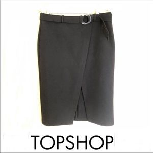 TOPSHOP Black Over Lap Front Belted Skirt Sz 12